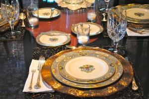The china pattern is Autumn by Lenox. The engraved silverware is Chantilly by Gorham. The crystal is Lady Anne also by Gorham.