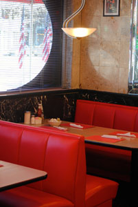 Charming red leather booths - a blast from the past.